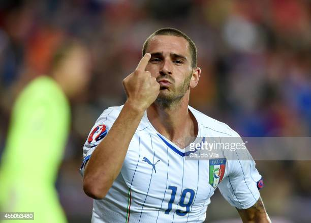 Leonardo Bonucci of Italy celebrates during the UEFA EURO 2016 qualifier match between Norway and Italy at Ullevaal Stadion on September 9, 2014 in...