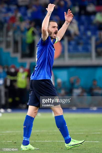 Leonardo Bonucci of Italy celebrates during the Uefa Euro 2020 Group A football match between Italy and Switzerland. Italy won 3-0 over Switzerland.