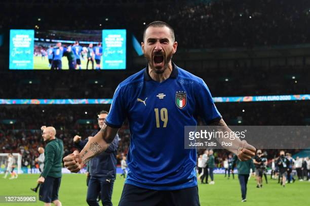 Leonardo Bonucci of Italy celebrates following their team's victory in the penalty shoot out after the UEFA Euro 2020 Championship Semi-final match...