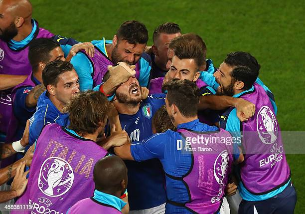 Leonardo Bonucci of Italy celebrates scoring his team's first goal with his team mates during the UEFA EURO 2016 quarter final match between Germany...