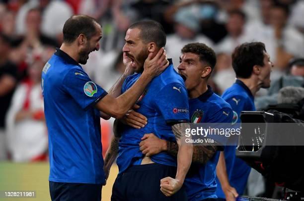 Leonardo Bonucci of Italy celebrates with Giorgio Chiellini and Giovanni Di Lorenzo after scoring their side's first goal during the UEFA Euro 2020...