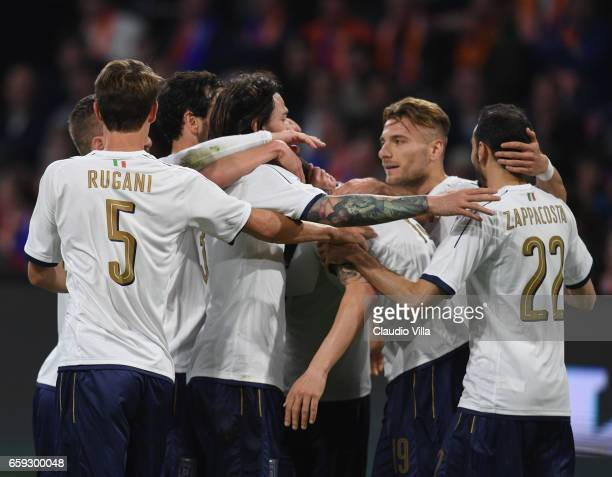 Leonardo Bonucci of Italy celebrates with team mates after scoring the goal during the international friendly match between Netherlands and Italy at...