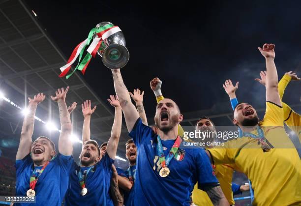 Leonardo Bonucci of Italy celebrates with the European Championship Trophy whilst celebrating with the fans during the UEFA Euro 2020 Championship...