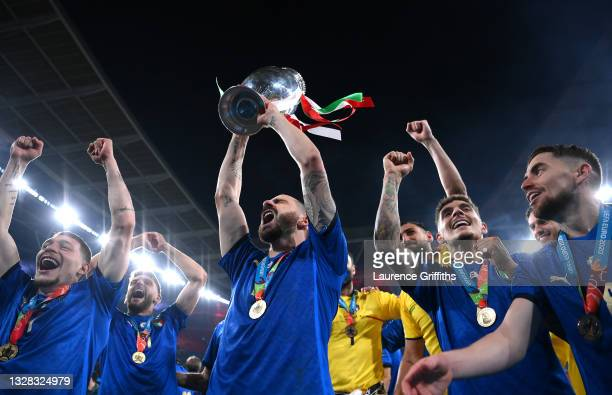 Leonardo Bonucci of Italy celebrates with the European Championship Trophy after victory in the UEFA Euro 2020 Championship Final between Italy and...