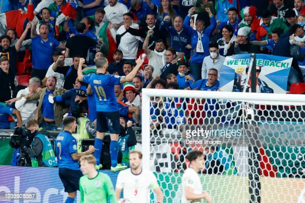 Leonardo Bonucci of Italy Cheers after his goal to make it 1:1 Stands on the gang to the fans during the UEFA Euro 2020 Championship Final between...