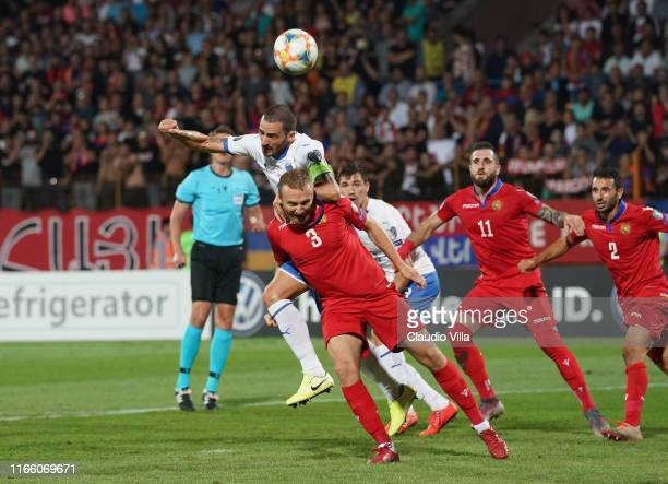 Leonardo Bonucci of Italy competes for the ball with Varazdat Haroyan of Armenia during the UEFA Euro 2020 qualifier between Armenia and Italy at...