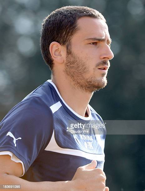 Leonardo Bonucci of Italy during a training session at Coverciano on October 9 2013 in Florence Italy