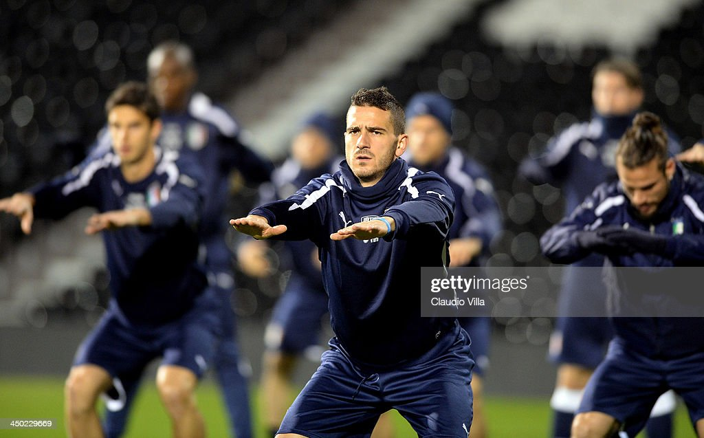 Leonardo Bonucci of Italy during a training session at Craven Cottage on November 17, 2013 in London, England.