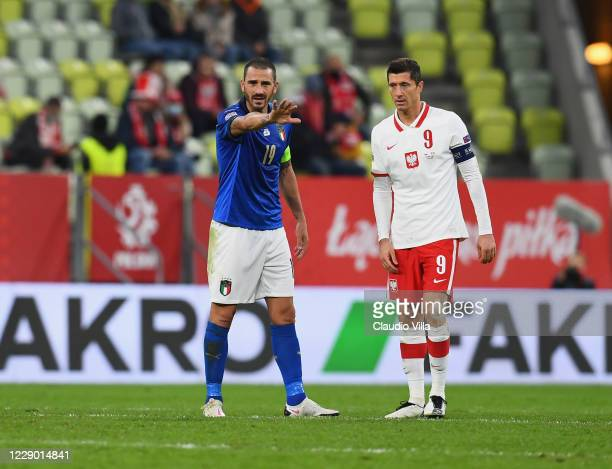 Leonardo Bonucci of Italy gestures during the UEFA Nations League group stage match between Poland and Italy at Gdansk Stadium on October 11, 2020 in...