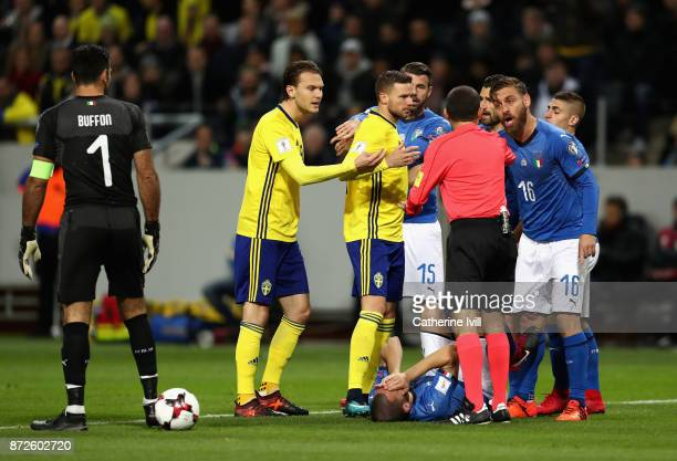 Leonardo Bonucci of Italy goes down injured during the FIFA 2018 World Cup Qualifier PlayOff First Leg between Sweden and Italy at Friends arena on...