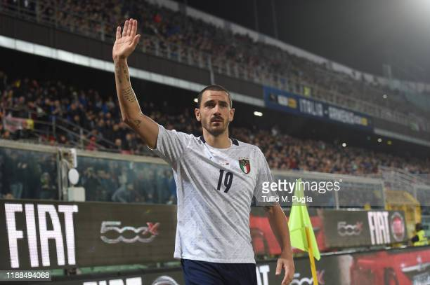 Leonardo Bonucci of Italy greets supporters during the UEFA Euro 2020 Qualifier between Italy and Armenia on November 18 2019 in Palermo Italy