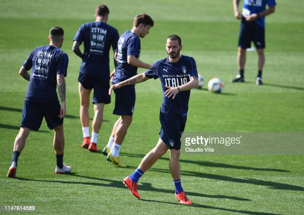 Leonardo Bonucci of Italy in action during a Italy training session at Centro Tecnico Federale di Coverciano on June 2, 2019 in Florence, Italy.