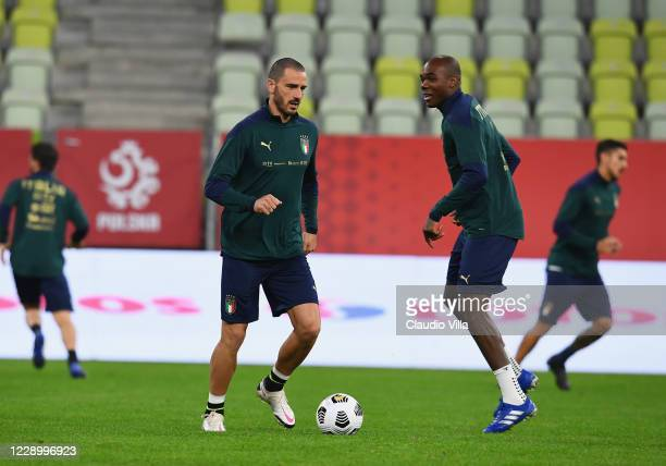 Leonardo Bonucci of Italy in action during a training session at Energa Arena on October 10, 2020 in Gdansk, Poland.