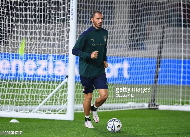 Leonardo Bonucci of Italy in action during a training session at Gewiss Stadium on October 13, 2020 in Bergamo, Italy.