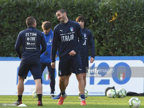 Leonardo Bonucci of Italy in action during a training session at Centro Tecnico Federale di Coverciano on November 14 2018 in Florence Italy
