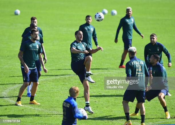 Leonardo Bonucci of Italy in action during a training session at Centro Tecnico Federale di Coverciano on October 9, 2020 in Florence, Italy.