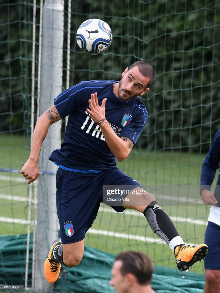 Leonardo Bonucci of Italy in action during a training session at Italy club's training ground at Coverciano on October 3, 2017 in Florence, Italy.