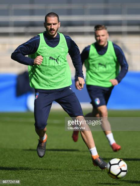 Leonardo Bonucci of Italy in action during a training session at Manchester City Football Academy on March 25 2018 in Manchester England