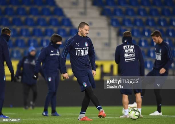 Leonardo Bonucci of Italy in action during a training session on November 19 2018 in Genk Belgium