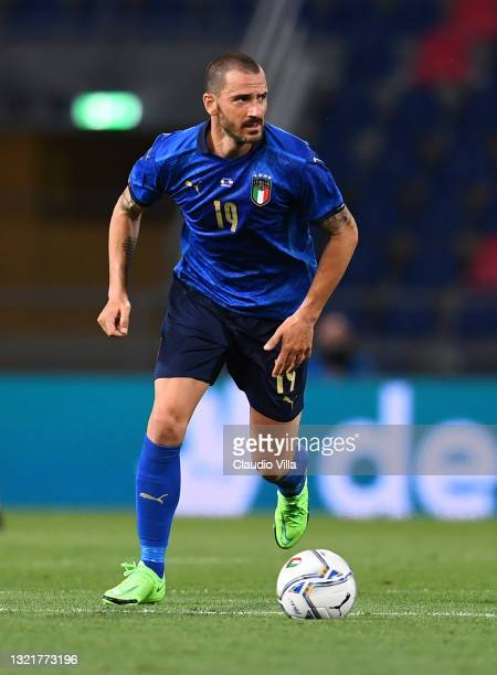 Leonardo Bonucci of Italy in action during the international friendly match between Italy and Czech Republic at Renato Dall'Ara on June 04, 2021 in...