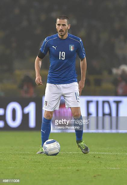 Leonardo Bonucci of Italy in action during the international friendly match between Italy and Romania at Stadio Renato Dall'Ara on November 17, 2015...