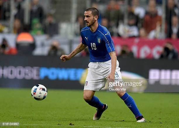 Leonardo Bonucci of Italy in action during the international friendly match between Germany and Italy at Allianz Arena on March 29 2016 in Munich...