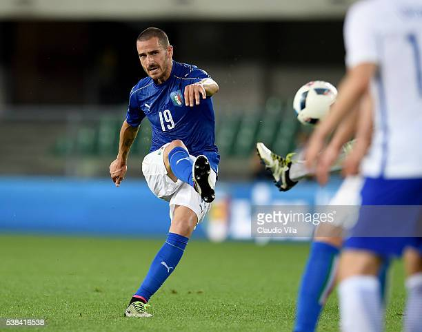 Leonardo Bonucci of Italy in action during the international friendly match between Italy and Finland on June 6 2016 in Verona Italy
