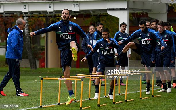 Leonardo Bonucci of Italy in action during the training session at the club's training ground at Milanello on November 14 2016 in Florence Italy