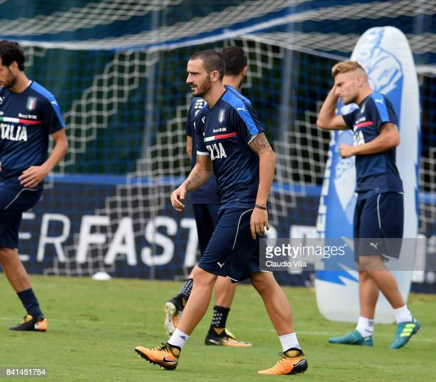Leonardo Bonucci of Italy in action during the training session at Italy club's training ground at Coverciano on September 01 2017 in Florence Italy