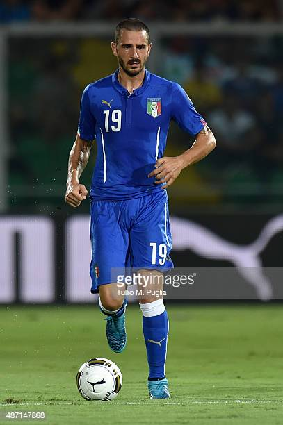 Leonardo Bonucci of Italy in action during the UEFA EURO 2016 Qualifier match between Italy and Bulgaria on September 6, 2015 in Palermo, Italy.