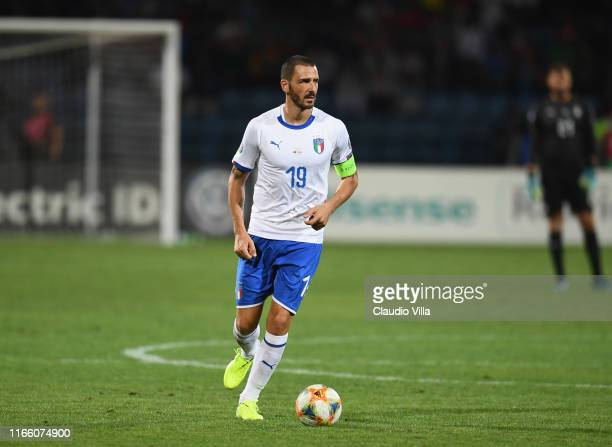 Leonardo Bonucci of Italy in action during the UEFA Euro 2020 qualifier between Armenia and Italy at Republican Stadium after Vazgen Sargsyan on...