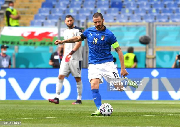 Leonardo Bonucci of Italy in action during the UEFA Euro 2020 Championship Group A match between Italy and Wales at Olimpico Stadium on June 20, 2021...