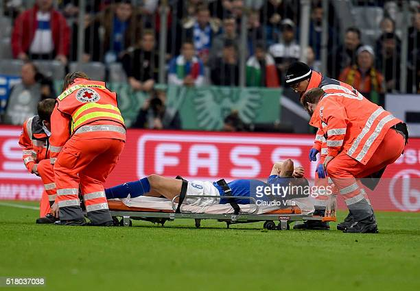 Leonardo Bonucci of Italy injured during the international friendly match between Germany and Italy at Allianz Arena on March 29 2016 in Munich...