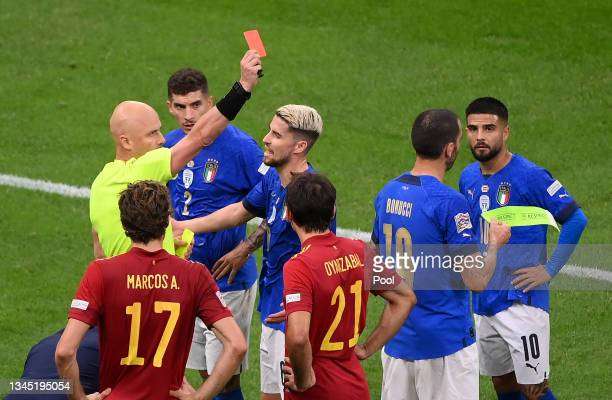 Leonardo Bonucci of Italy is shown a red card by Match Referee, Sergei Karasev during the UEFA Nations League 2021 Semi-final match between Italy and...