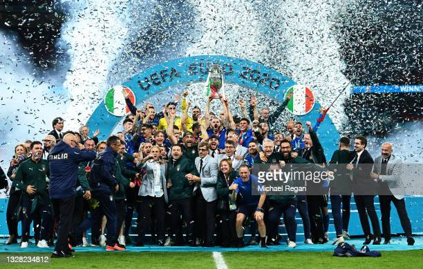 Leonardo Bonucci of Italy lifts The Henri Delaunay Trophy following his team's victory in the UEFA Euro 2020 Championship Final between Italy and...