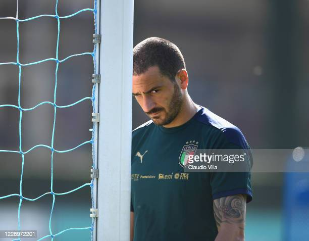 Leonardo Bonucci of Italy looks on during a training session at Centro Tecnico Federale di Coverciano on October 9, 2020 in Florence, Italy.