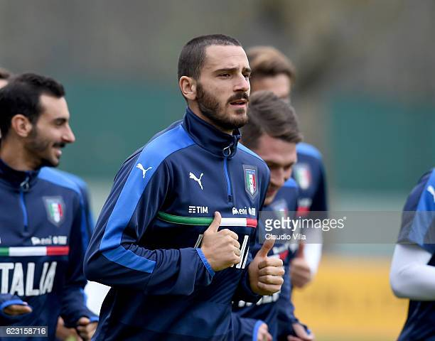 Leonardo Bonucci of Italy looks on during the training session at the club's training ground at Milanello on November 14 2016 in Florence Italy