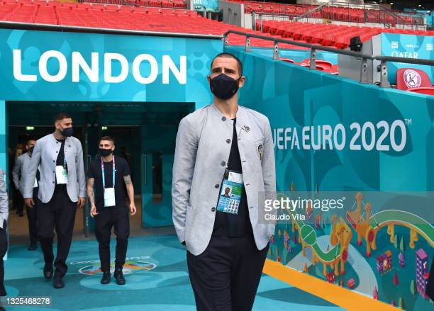 Leonardo Bonucci of Italy looks on during walk about ahead of the Euro 2020 group/Ro16/QF/SF/Final match between Italy and Austria at Wembley Stadium...