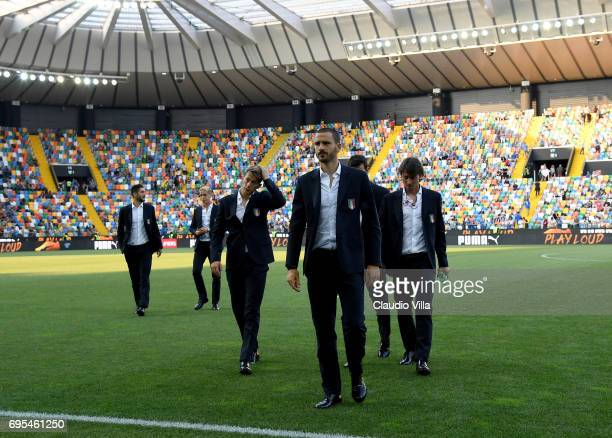 Leonardo Bonucci of Italy looks on prior to the FIFA 2018 World Cup Qualifier between Italy and Liechtenstein at Stadio Friuli on June 11 2017 in...