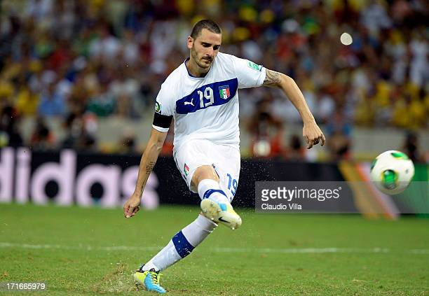 Leonardo Bonucci of Italy misses a penalty in a shootout during the FIFA Confederations Cup Brazil 2013 Semi Final match between Spain and Italy at...