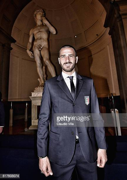 Leonardo Bonucci of Italy pose for a photograph to launch the Ermanno Scervino Italy Suit on March 21, 2016 in Florence, Italy.