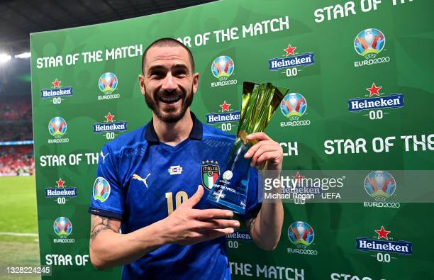 """Leonardo Bonucci of Italy poses for a photograph with their Heineken """"Star of the Match"""" award after the UEFA Euro 2020 Championship Final between..."""