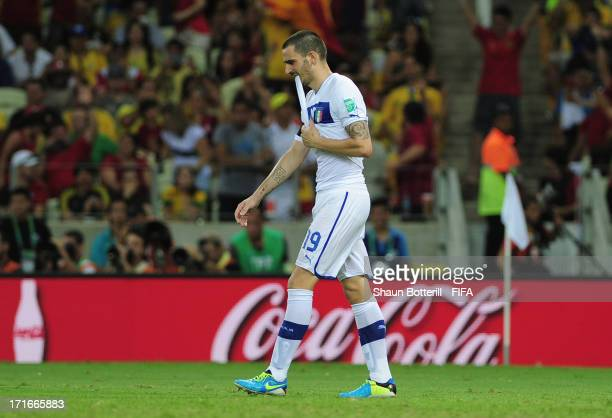 Leonardo Bonucci of Italy reacts after missing a penalty in a shootout during the FIFA Confederations Cup Brazil 2013 Semi Final match between Spain...