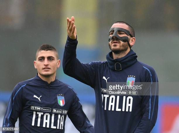 Leonardo Bonucci of Italy reacts during a Italy training session at Appiano Gentile on November 12 2017 in Como Italy