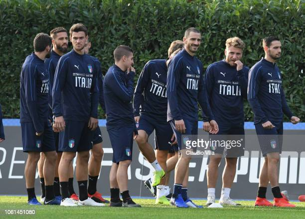 Leonardo Bonucci of Italy reacts during a training session at Centro Tecnico Federale di Coverciano on November 14 2018 in Florence Italy