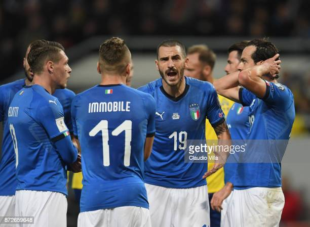 Leonardo Bonucci of Italy reacts during the FIFA 2018 World Cup Qualifier PlayOff First Leg between Sweden and Italy at Friends Arena on November 10...