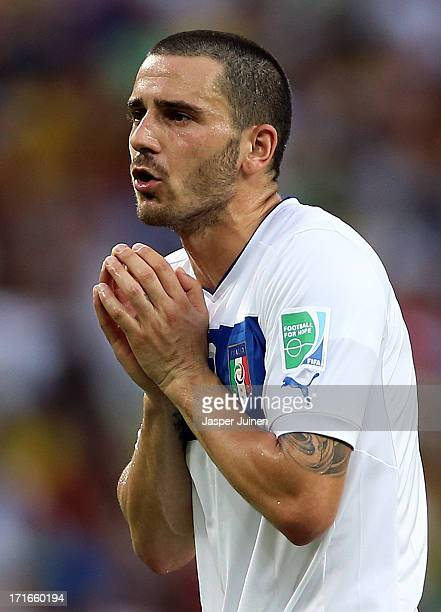 Leonardo Bonucci of Italy reacts during the FIFA Confederations Cup Brazil 2013 Semi Final match between Spain and Italy at Castelao on June 27, 2013...