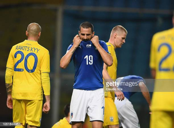 Leonardo Bonucci of Italy reacts during the International Friendly match between Italy and Ukraine on October 10 2018 in Genoa Italy