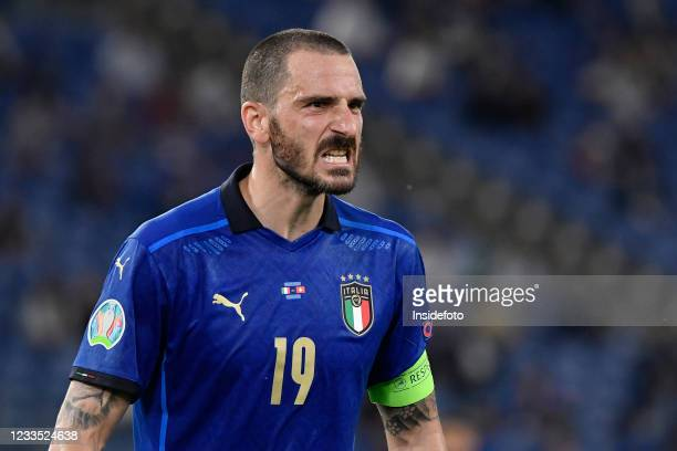 Leonardo Bonucci of Italy reacts during the Uefa Euro 2020 Group A football match between Italy and Switzerland. Italy won 3-0 over Switzerland.