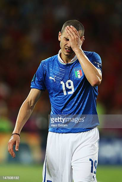 Leonardo Bonucci of Italy shows his dejection during the UEFA EURO 2012 final match between Spain and Italy at the Olympic Stadium on July 1, 2012 in...